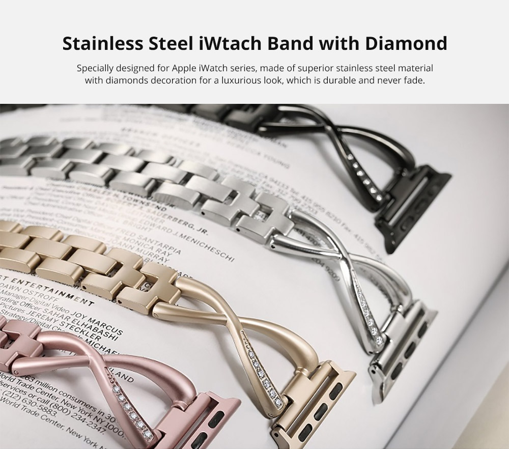 Premium Stainless Steel Band Compatible with Apple Watch Strap 38mm 40mm 42mm 44mm Women Stainless Steel Watch Band with Diamond 6