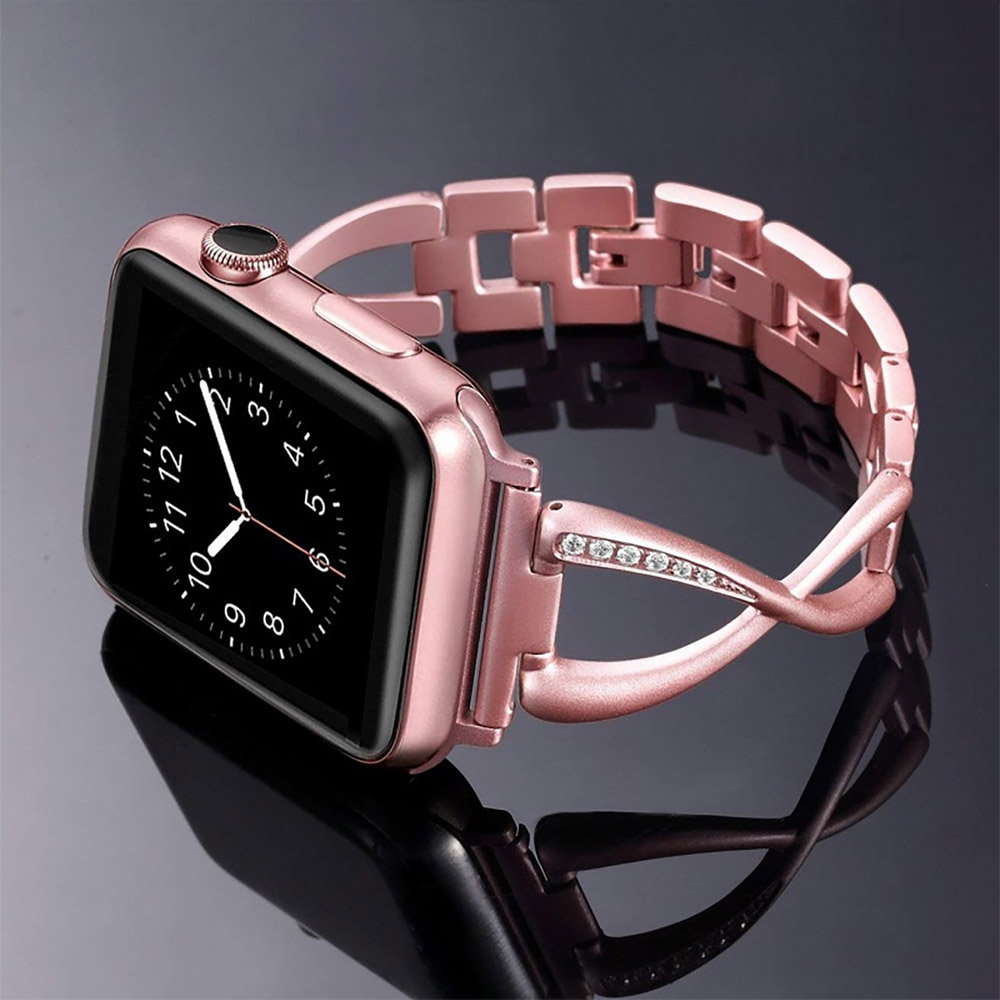 Premium Stainless Steel Band Compatible with Apple Watch Strap 38mm 40mm 42mm 44mm Women Stainless Steel Watch Band with Diamond 16