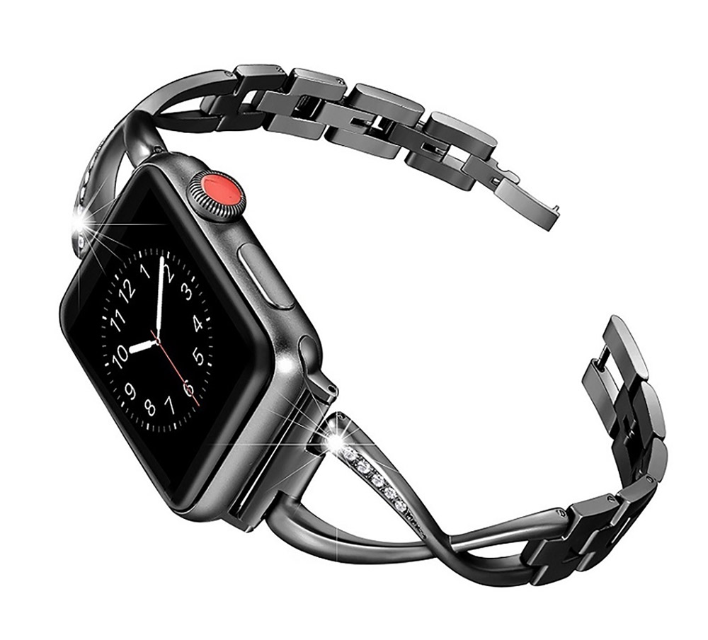 Premium Stainless Steel Band Compatible with Apple Watch Strap 38mm 40mm 42mm 44mm Women Stainless Steel Watch Band with Diamond 17