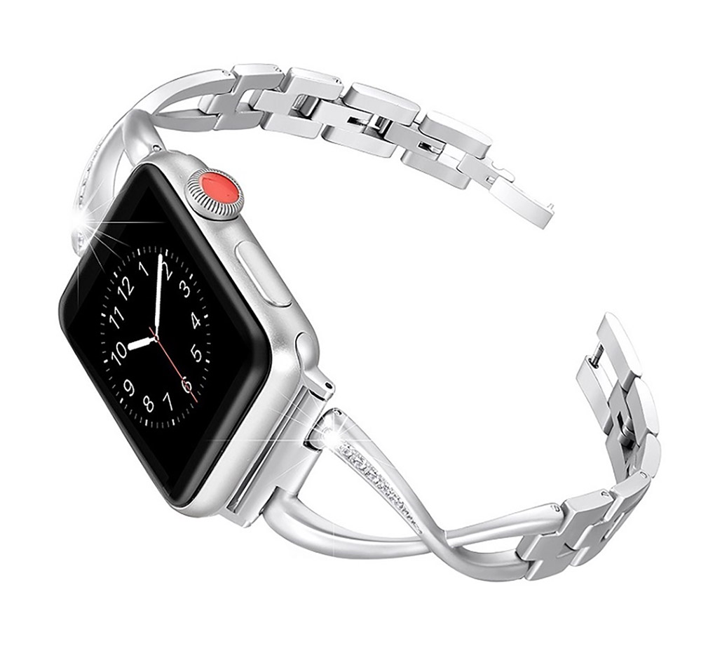 Premium Stainless Steel Band Compatible with Apple Watch Strap 38mm 40mm 42mm 44mm Women Stainless Steel Watch Band with Diamond 18