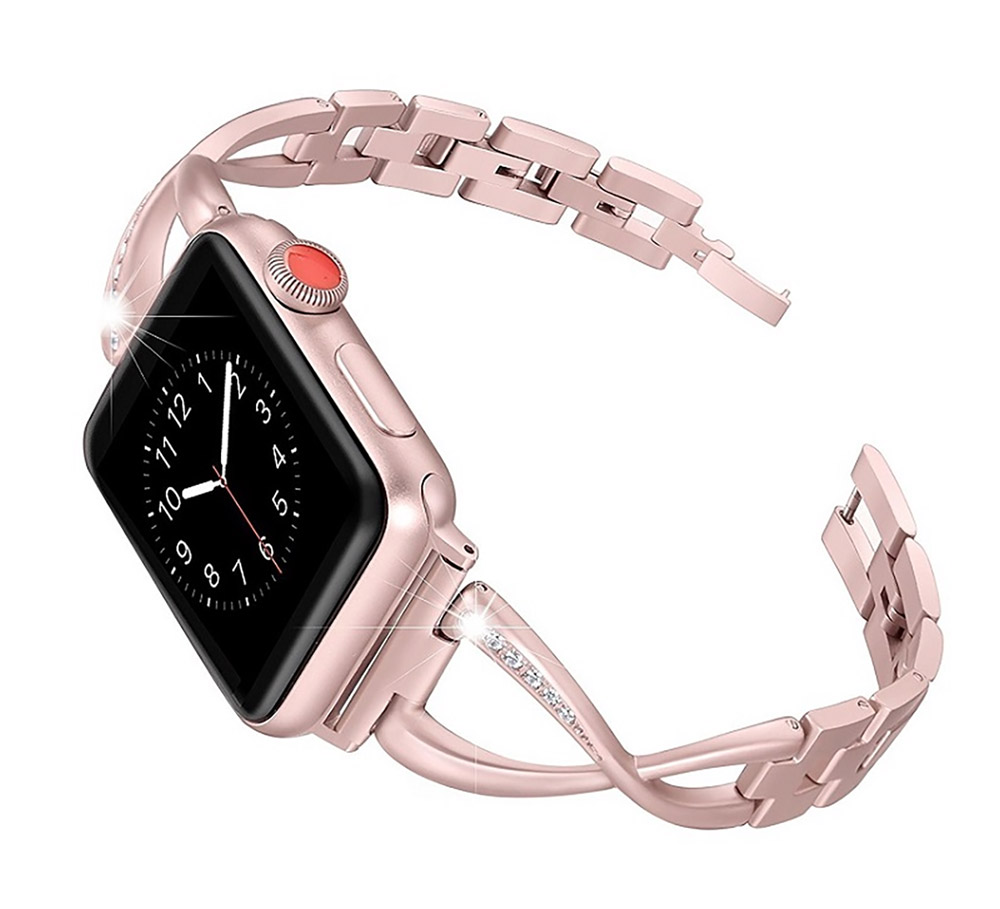 Premium Stainless Steel Band Compatible with Apple Watch Strap 38mm 40mm 42mm 44mm Women Stainless Steel Watch Band with Diamond 19