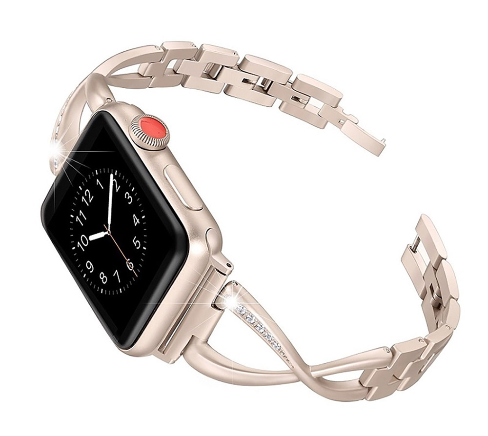 Premium Stainless Steel Band Compatible with Apple Watch Strap 38mm 40mm 42mm 44mm Women Stainless Steel Watch Band with Diamond 20