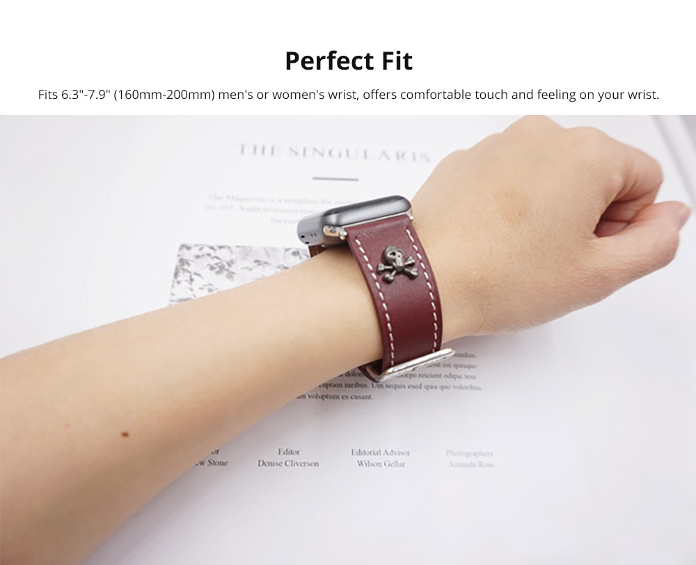 Handmade 38mm 42mm Premium Leather Watch Band with Metal Punk Trinket, Stainless Metal Buckle for Apple iWatch Breathable Replacement Strap 7