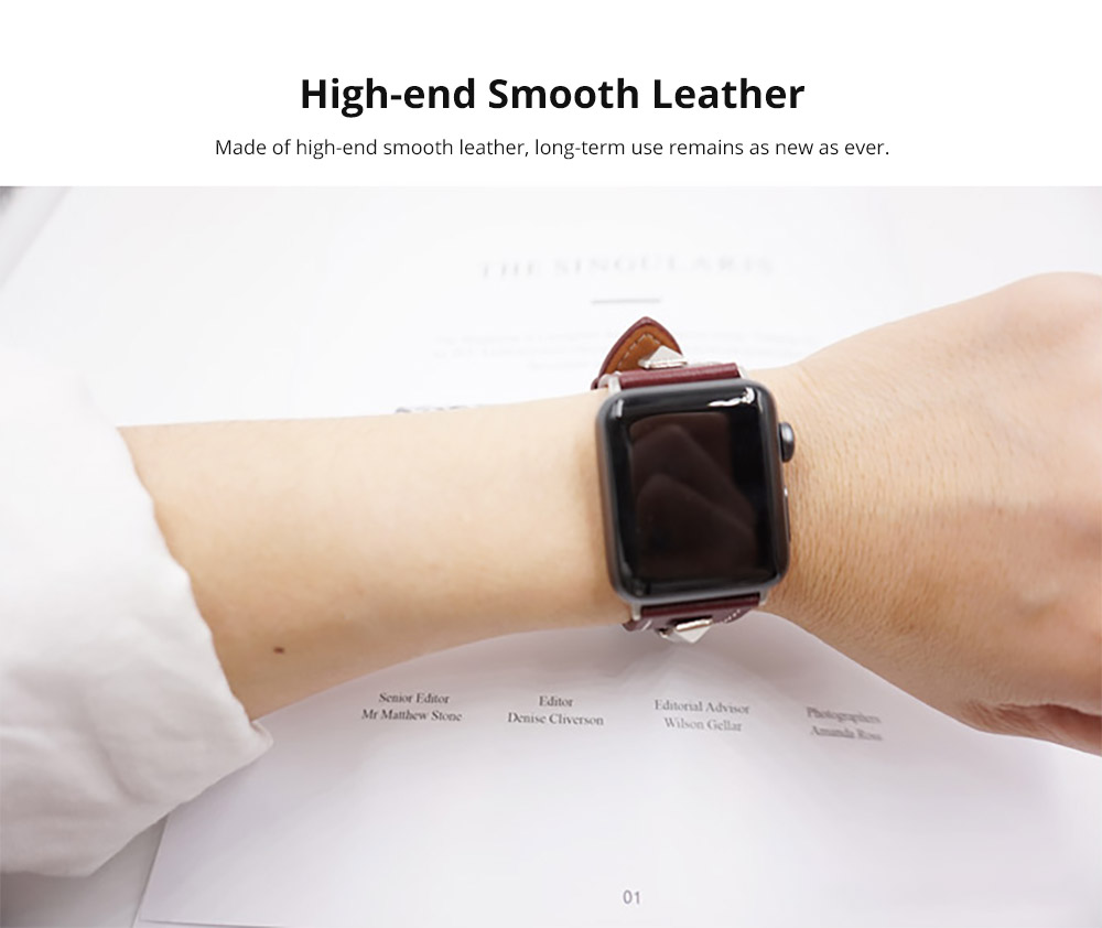 Handmade 38mm 42mm Premium Leather Watch Band with Metal Punk Trinket, Stainless Metal Buckle for Apple iWatch Breathable Replacement Strap 9