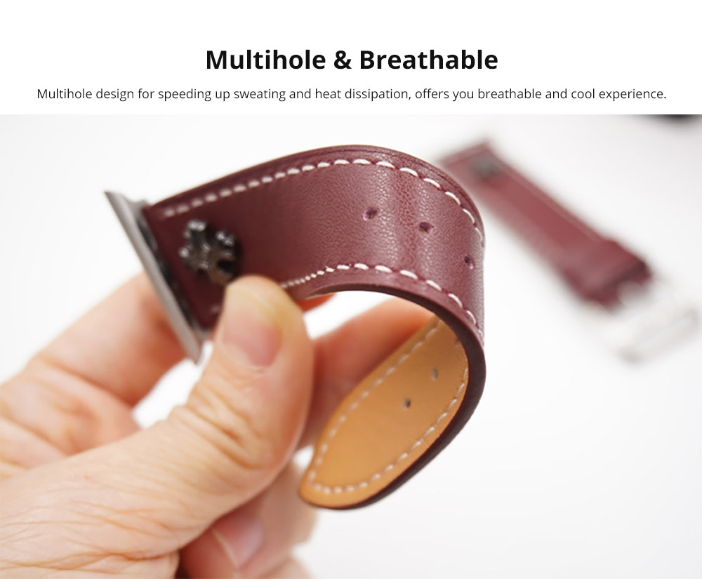 Handmade 38mm 42mm Premium Leather Watch Band with Metal Punk Trinket, Stainless Metal Buckle for Apple iWatch Breathable Replacement Strap 10