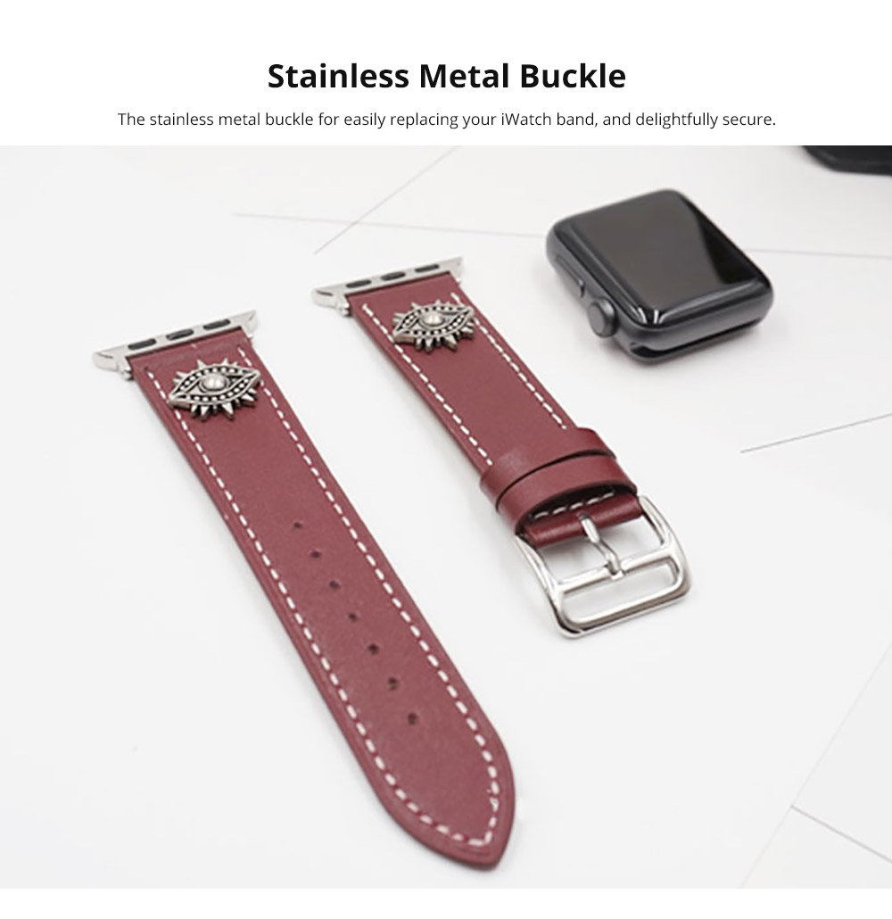 Handmade 38mm 42mm Premium Leather Watch Band with Metal Punk Trinket, Stainless Metal Buckle for Apple iWatch Breathable Replacement Strap 11