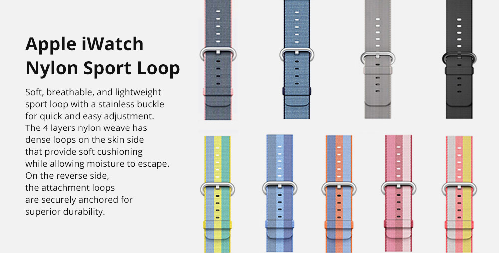 38mm 42mm Soft Nylon Sport Loop Band with Stainless Metal Snap for Apple iWatch Replacement Watch Strap with Stainless Metal Buckle 6