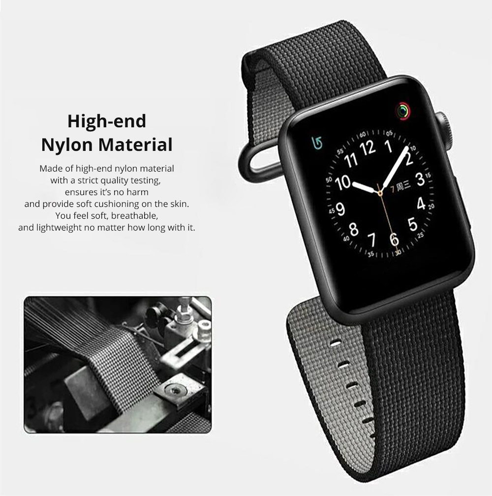 38mm 42mm Soft Nylon Sport Loop Band with Stainless Metal Snap for Apple iWatch Replacement Watch Strap with Stainless Metal Buckle 10