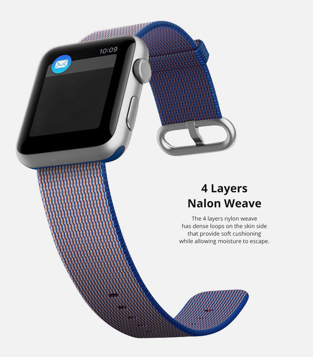 38mm 42mm Soft Nylon Sport Loop Band with Stainless Metal Snap for Apple iWatch Replacement Watch Strap with Stainless Metal Buckle 12