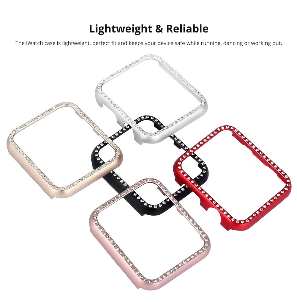 Aluminum Protective Cover with Sparkle Crystal Diamond Compatible with Apple iWatch, Hard Shell Anti-impact Anti-Scratch Case for Apple iWatch Protective Frame 38mm 42mm  7