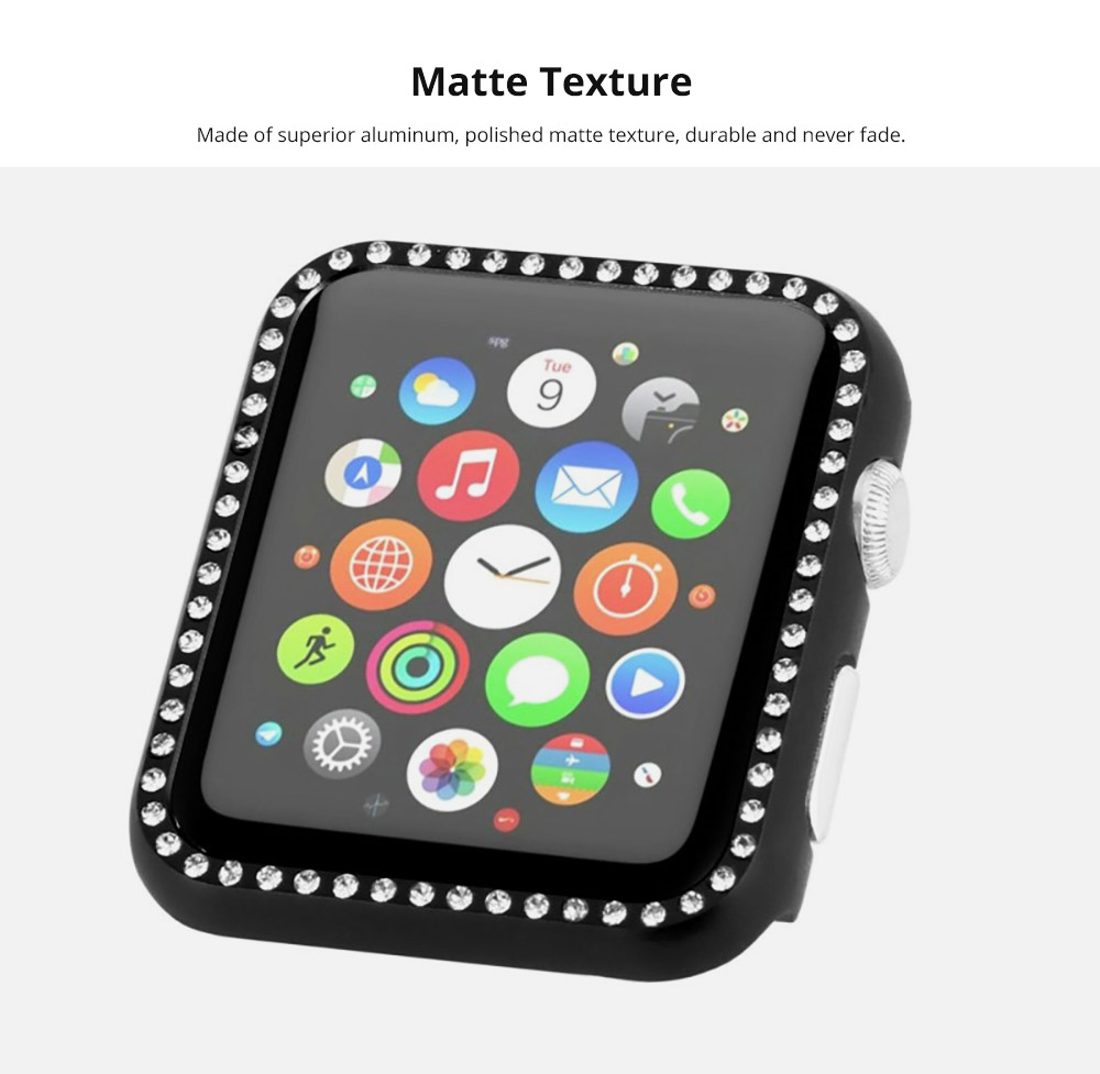 Aluminum Protective Cover with Sparkle Crystal Diamond Compatible with Apple iWatch, Hard Shell Anti-impact Anti-Scratch Case for Apple iWatch Protective Frame 38mm 42mm  8