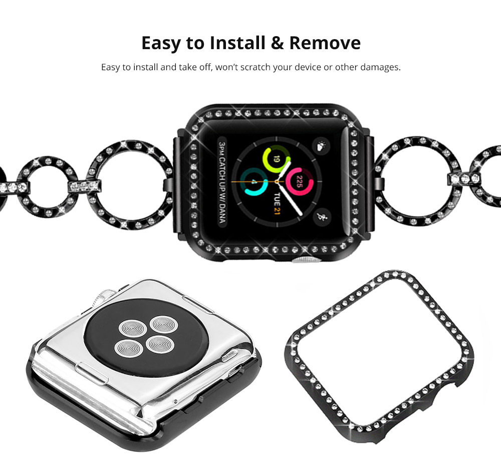 Aluminum Protective Cover with Sparkle Crystal Diamond Compatible with Apple iWatch, Hard Shell Anti-impact Anti-Scratch Case for Apple iWatch Protective Frame 38mm 42mm  9