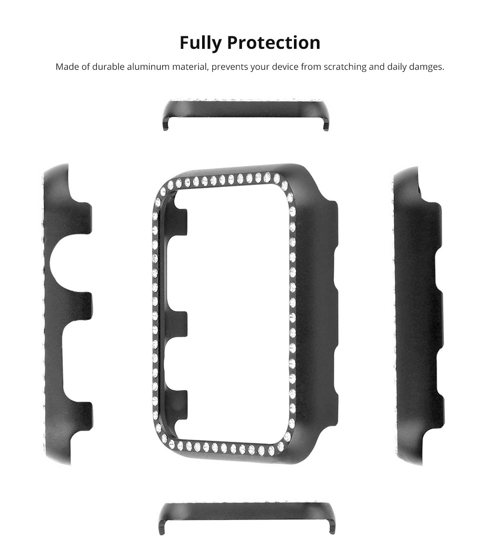 Aluminum Protective Cover with Sparkle Crystal Diamond Compatible with Apple iWatch, Hard Shell Anti-impact Anti-Scratch Case for Apple iWatch Protective Frame 38mm 42mm  11