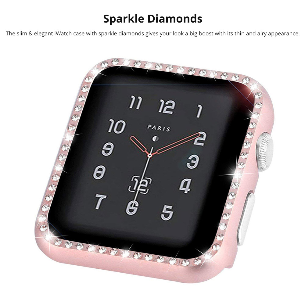 Aluminum Protective Cover with Sparkle Crystal Diamond Compatible with Apple iWatch, Hard Shell Anti-impact Anti-Scratch Case for Apple iWatch Protective Frame 38mm 42mm  12