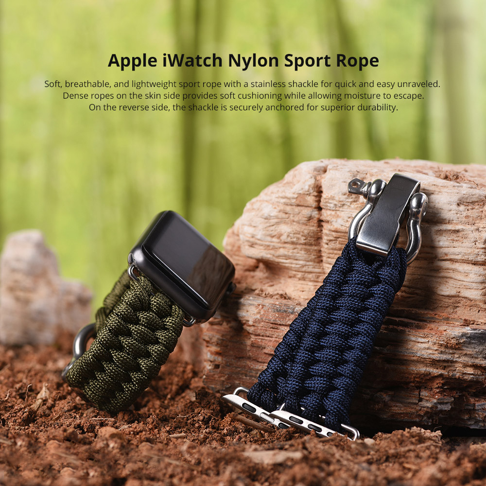 For Apple iWatch Replacement Watch Band, Premium 38mm 42mm Soft Nylon Sport Rope with Stainless Metal Shackle 5