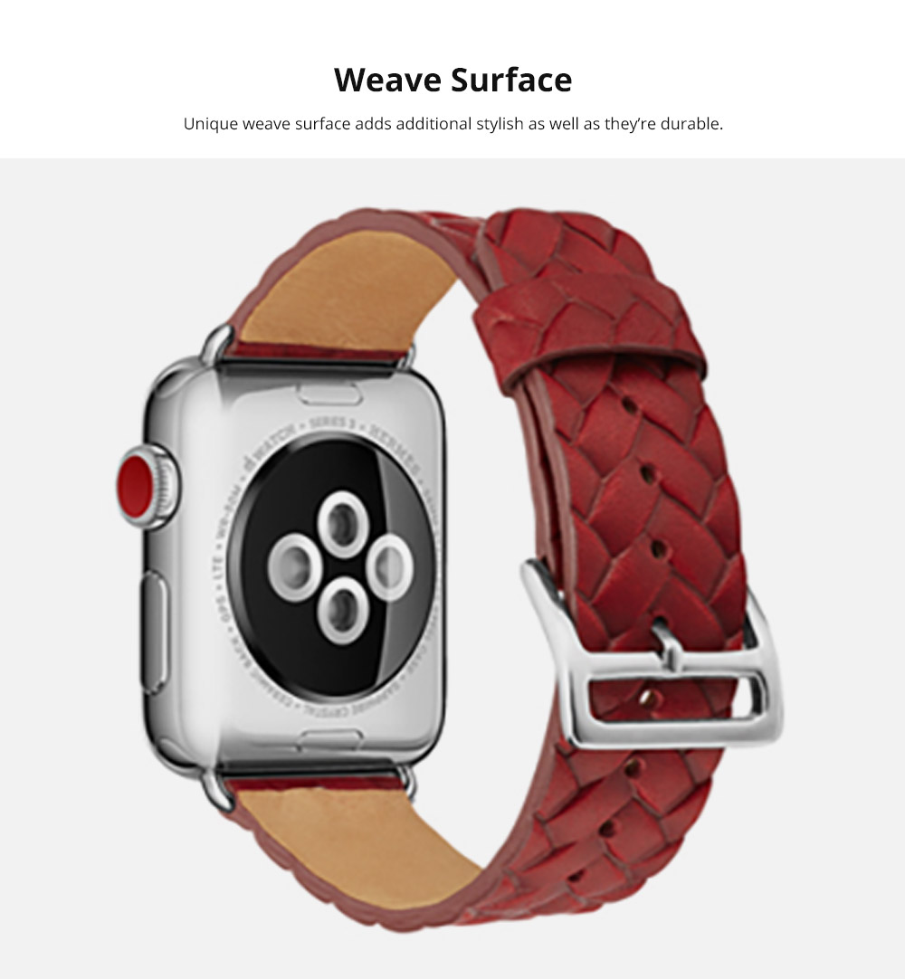 Genuine Leather Watch Band with Stainless Metal Buckle for Apple iWatch, Superior Weave Surface Real Leather iWatch Replacement Strap 38mm 42mm 10