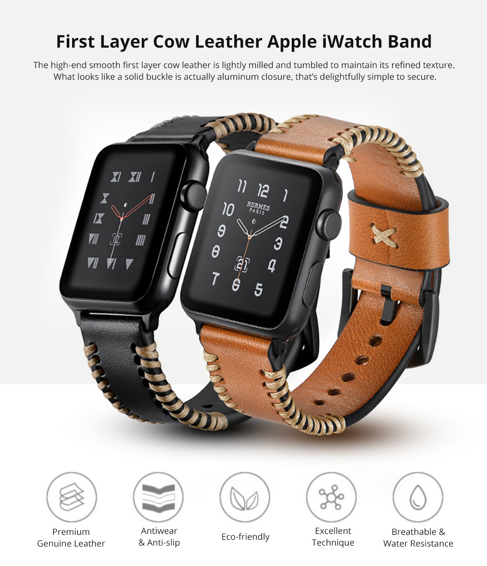 For Apple iWatch Handmade Replacement Strap 38mm 42mm, Premium Genuine Leather First Layer Cow Leather Watch Band with Aluminum Buckle 6