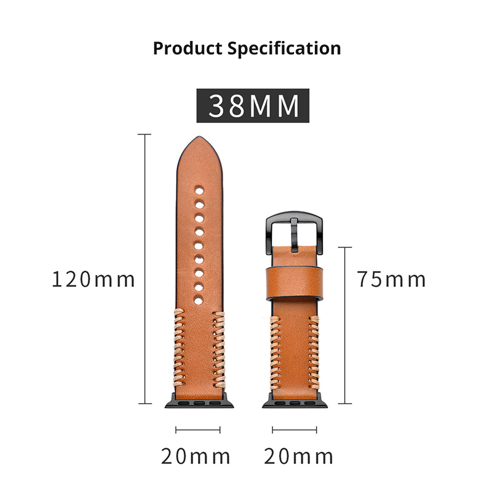 For Apple iWatch Handmade Replacement Strap 38mm 42mm, Premium Genuine Leather First Layer Cow Leather Watch Band with Aluminum Buckle 14