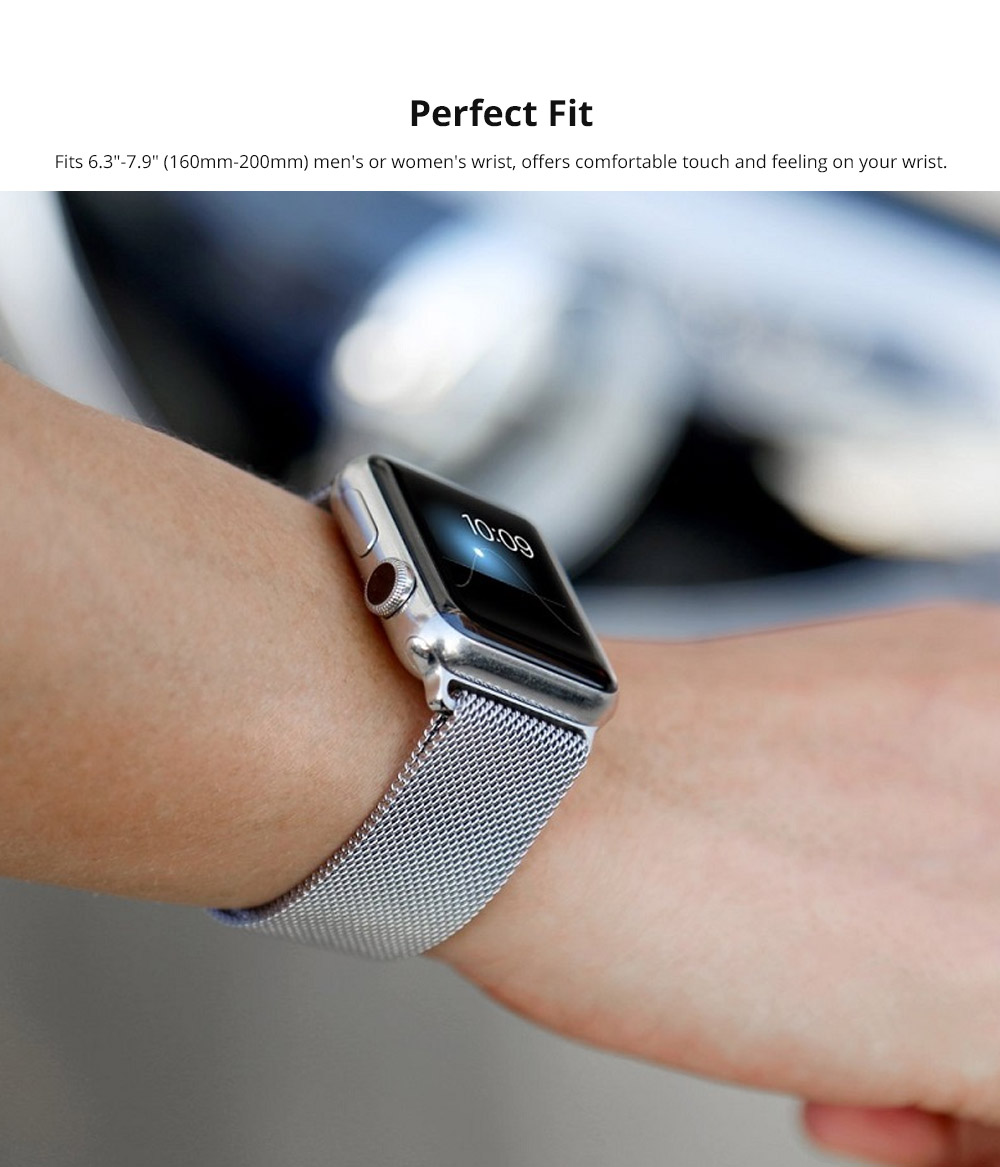 Replacement Watch Strap Compatible with Apple iWatch 38mm, 42mm, Stainless Steel Wristband with Magnetic Clasp for Apple iWatch 6