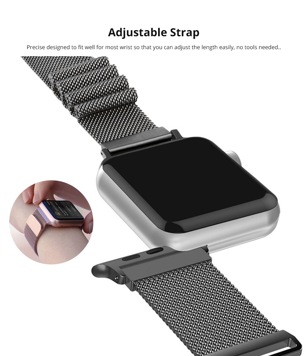 Replacement Watch Strap Compatible with Apple iWatch 38mm, 42mm, Stainless Steel Wristband with Magnetic Clasp for Apple iWatch 7
