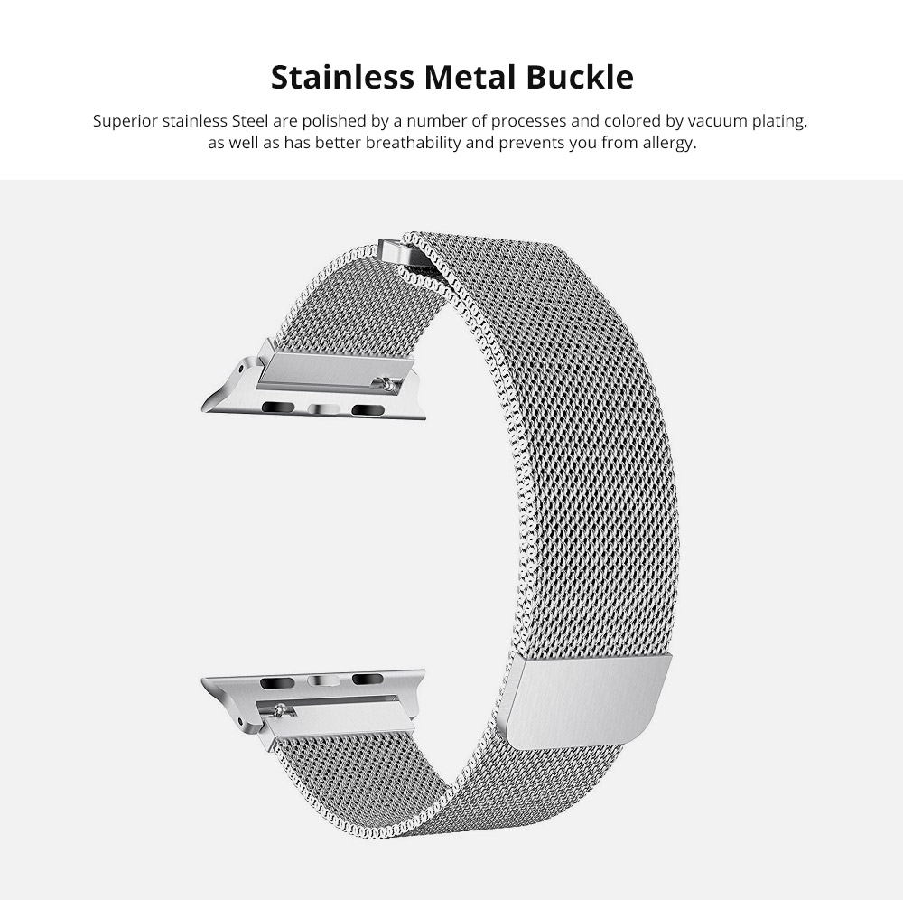 Replacement Watch Strap Compatible with Apple iWatch 38mm, 42mm, Stainless Steel Wristband with Magnetic Clasp for Apple iWatch 8