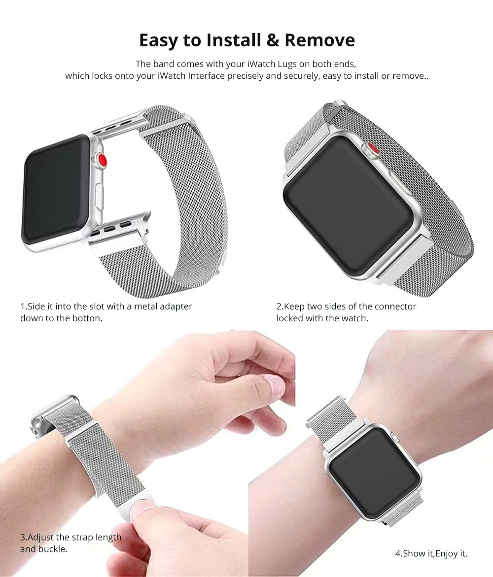 Replacement Watch Strap Compatible with Apple iWatch 38mm, 42mm, Stainless Steel Wristband with Magnetic Clasp for Apple iWatch 9