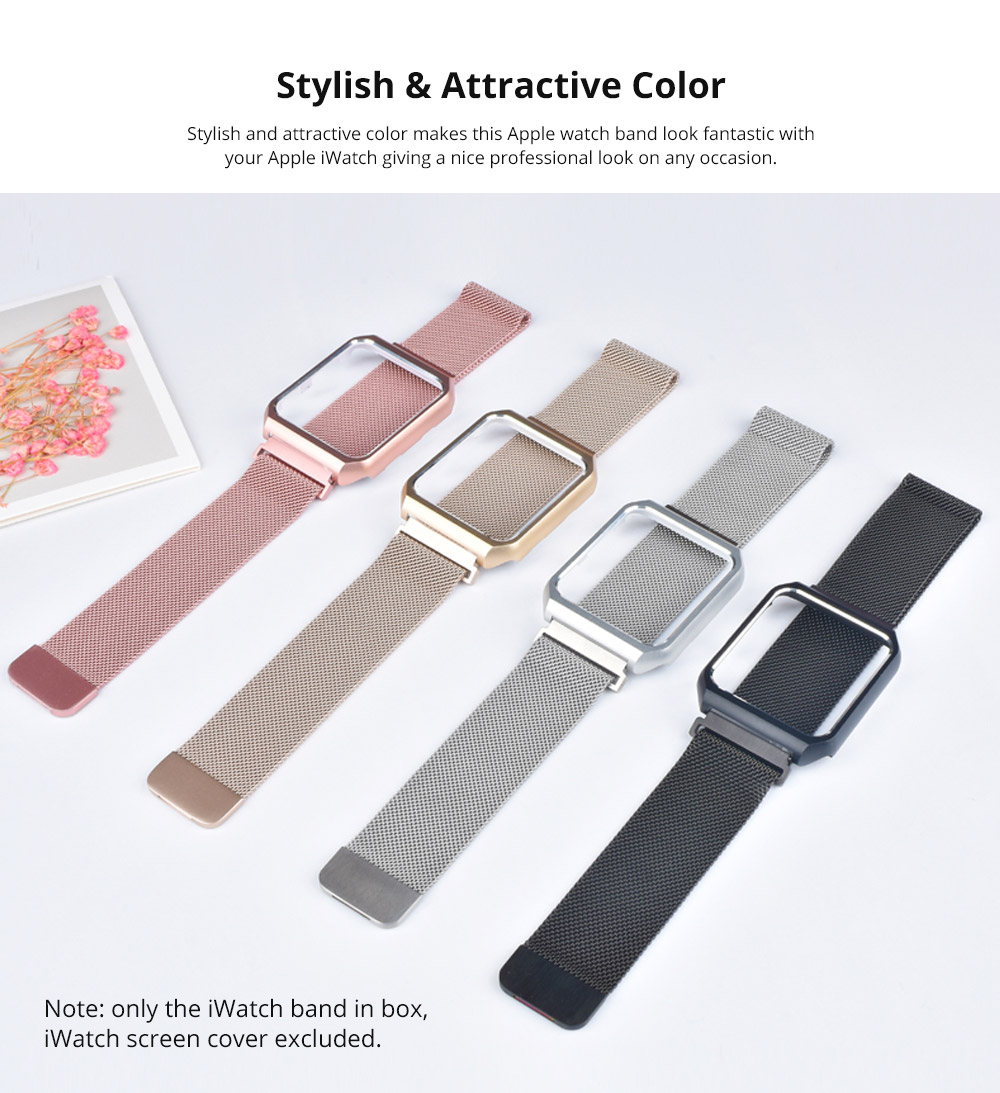 Replacement Watch Strap Compatible with Apple iWatch 38mm, 42mm, Stainless Steel Wristband with Magnetic Clasp for Apple iWatch 10