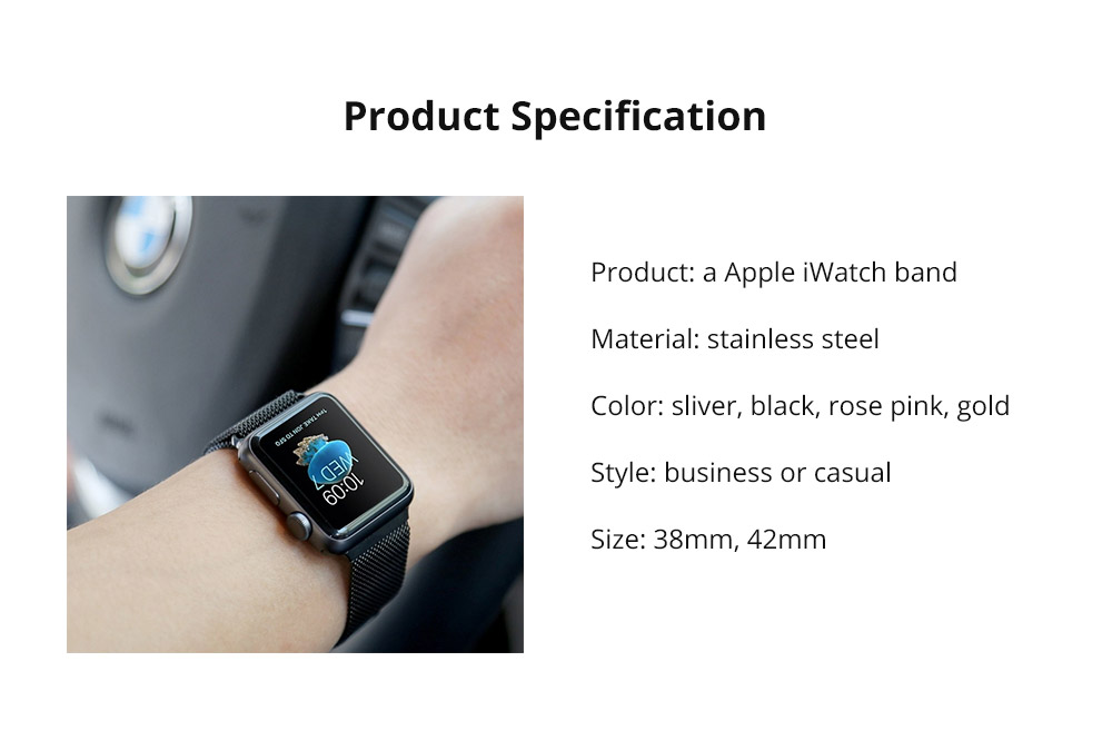 Replacement Watch Strap Compatible with Apple iWatch 38mm, 42mm, Stainless Steel Wristband with Magnetic Clasp for Apple iWatch 11