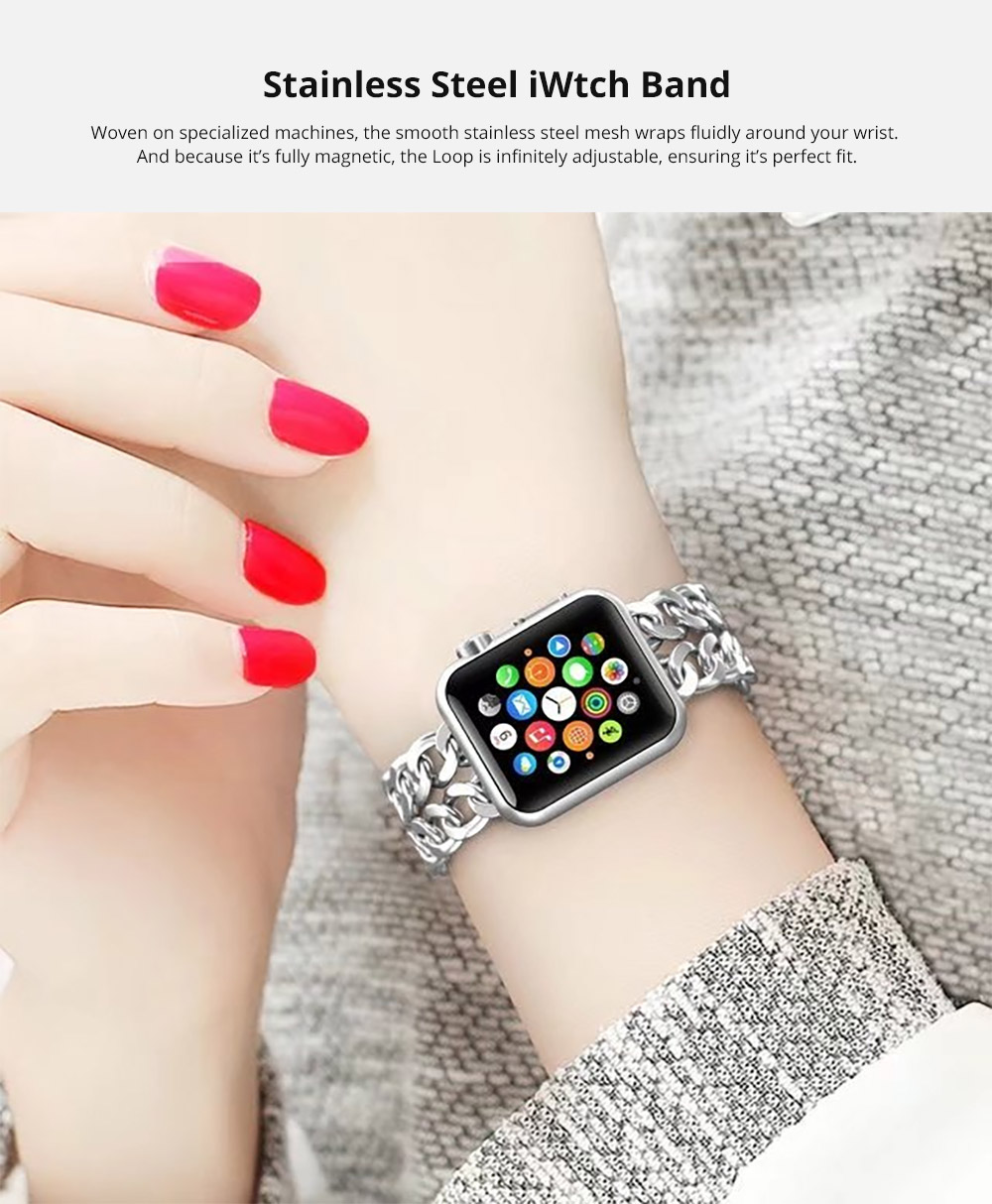 Stainless Steel Wristband with Removable Buckle for Apple iWatch 38mm, 42mm, 44mm Replacement Watch Strap 5