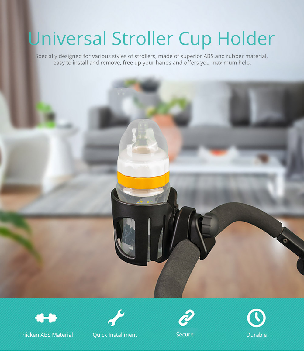 Stroller Accessories Superior ABS Anti-slid Adjustable Universal Stroller Cup Holder Baby Bottle Organizer Compatible with Baby Stroller 6