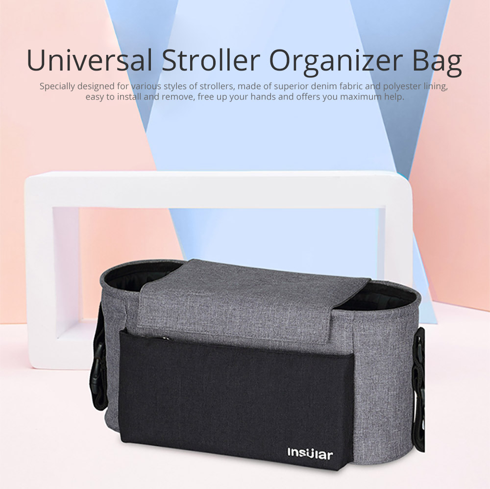 Universal Stroller Organizer Bag with Multiple Pockets Phone Pocket and Insulated Cup Holder - Baby Stroller Accessories 5