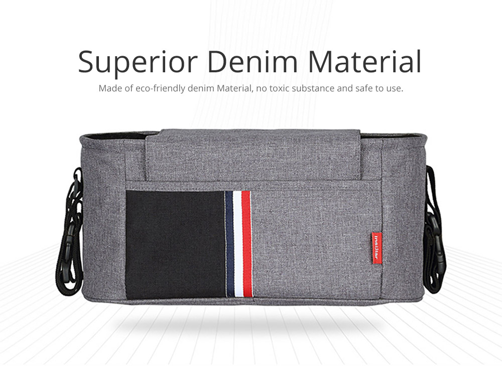 Universal Stroller Organizer Bag with Multiple Pockets Phone Pocket and Insulated Cup Holder - Baby Stroller Accessories 6