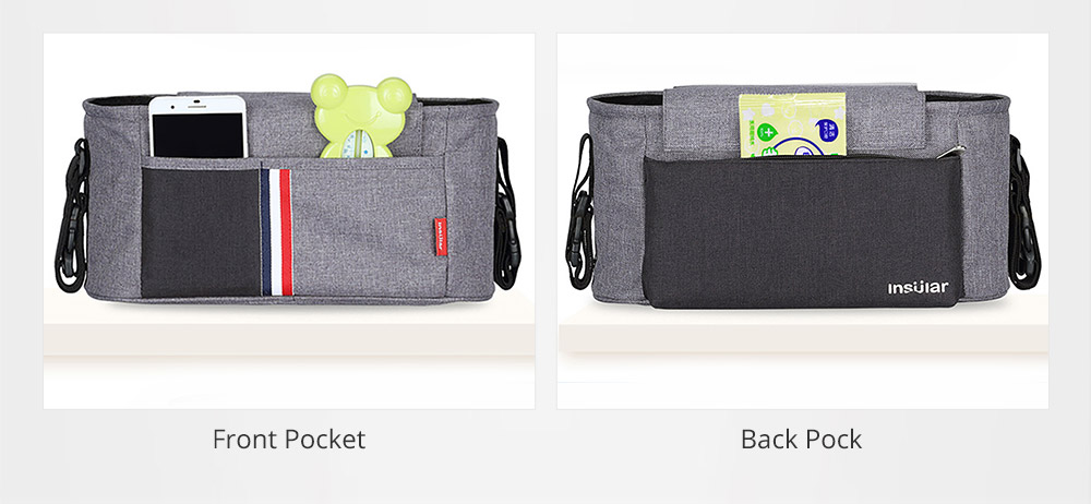 Universal Stroller Organizer Bag with Multiple Pockets Phone Pocket and Insulated Cup Holder - Baby Stroller Accessories 9