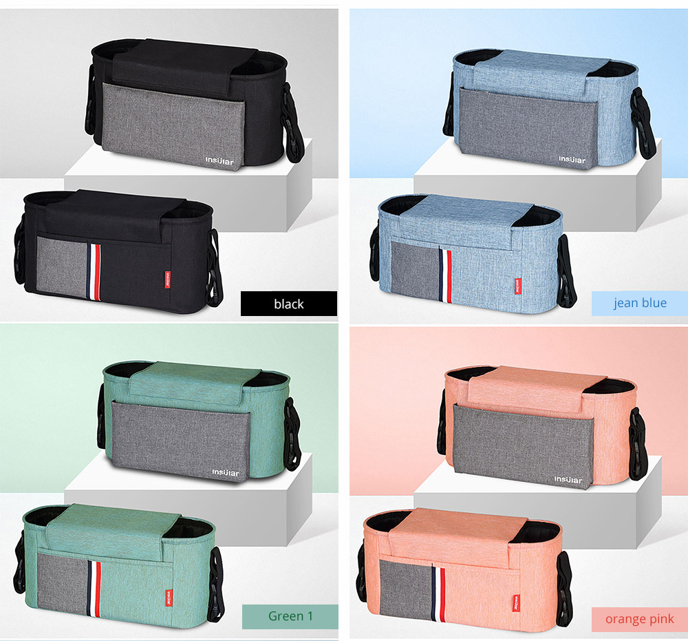 Universal Stroller Organizer Bag with Multiple Pockets Phone Pocket and Insulated Cup Holder - Baby Stroller Accessories 14