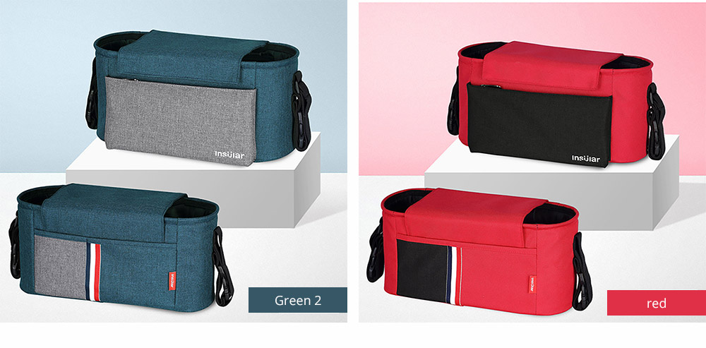 Universal Stroller Organizer Bag with Multiple Pockets Phone Pocket and Insulated Cup Holder - Baby Stroller Accessories 15