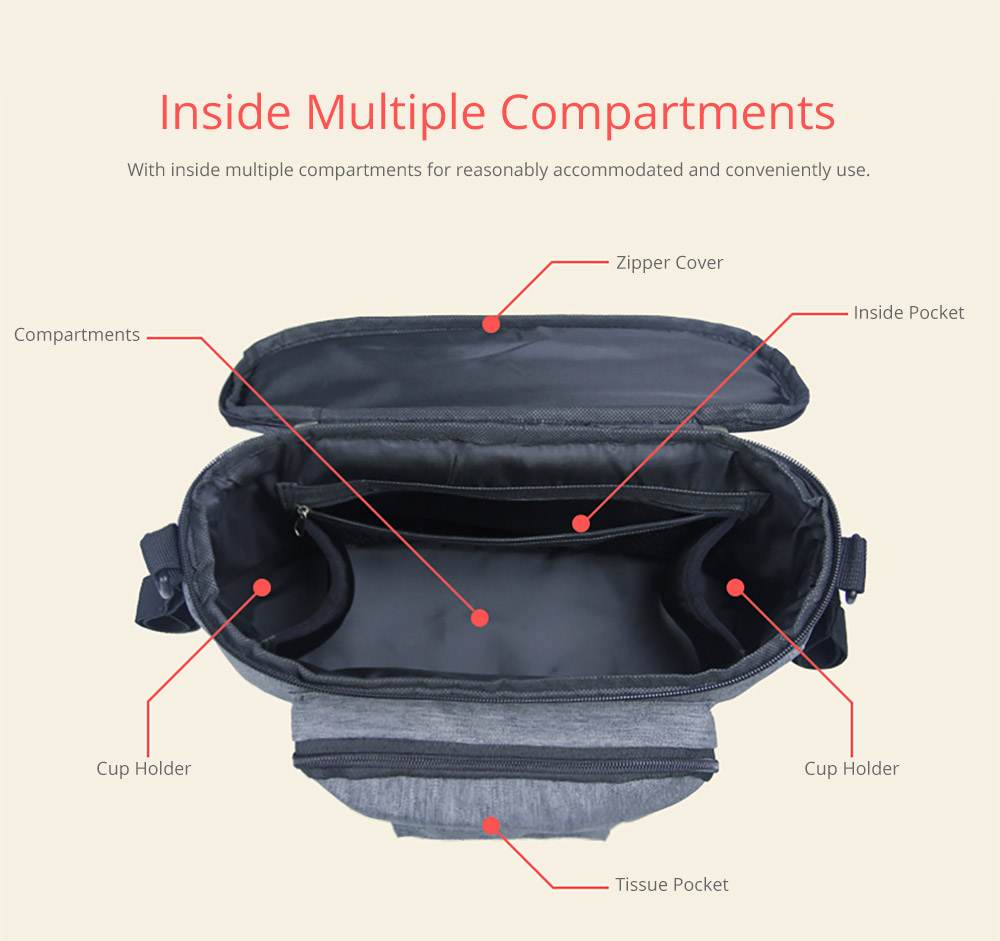 Portable Stroller Organizer Bag with Multiple Pockets Phone Pocket Insulated Cup Holder - Universal Multipurpose Baby Stroller Accessories 10