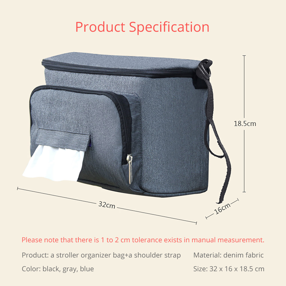 Portable Stroller Organizer Bag with Multiple Pockets Phone Pocket Insulated Cup Holder - Universal Multipurpose Baby Stroller Accessories 19