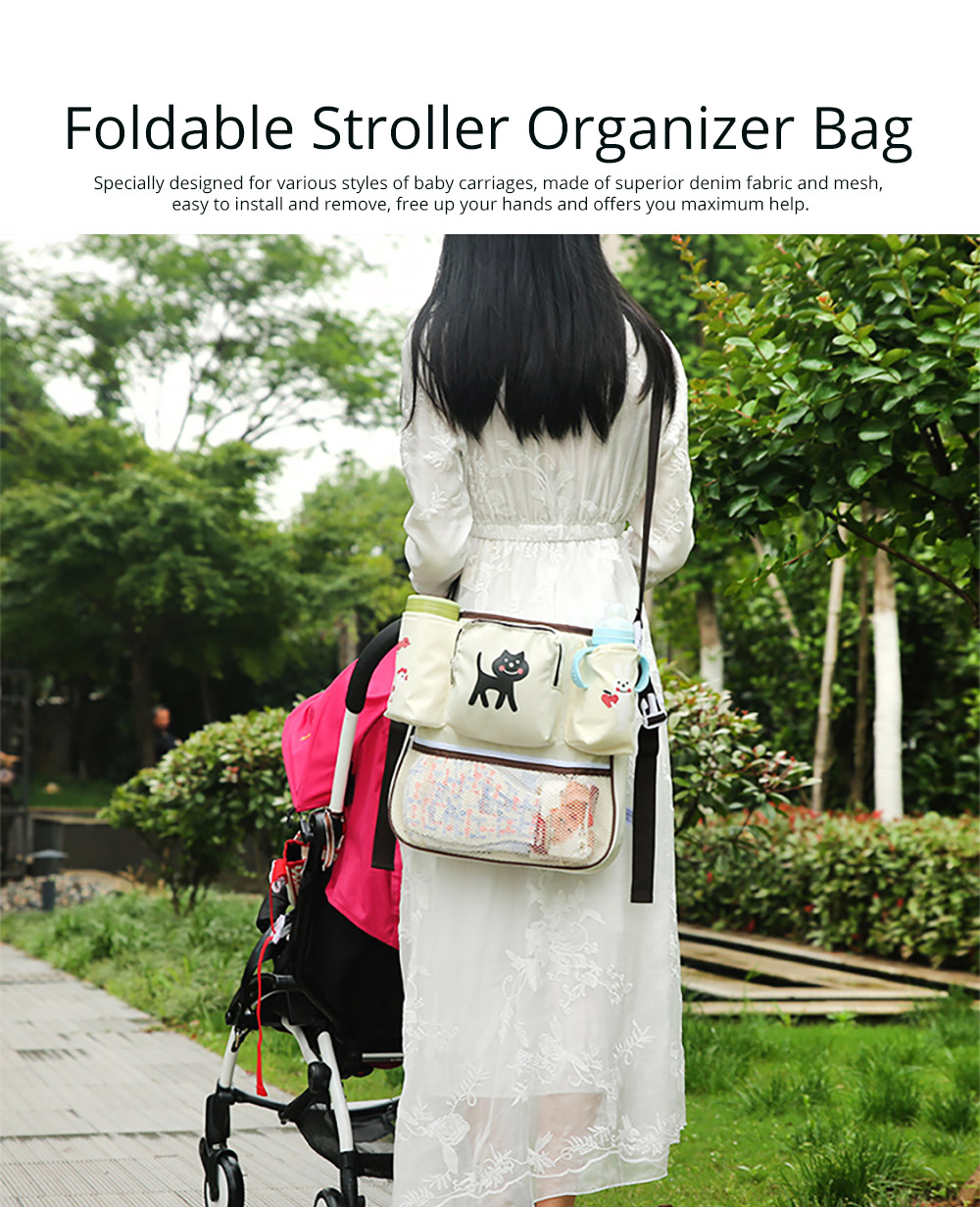 Durable Stroller Organizer Bag for Shipping or Walking, Universal Multipurpose Portable Stroller Organizer Bag with Multiple Compartments Compatible for Shipping Bags, Baby Carriages 6