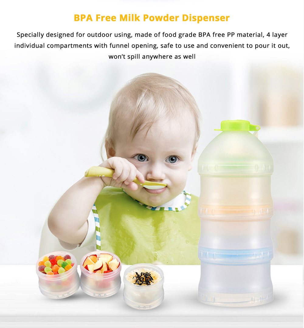 Portable Milk Powder Dispenser for Outdoors Shipping Travelling, Food Grade BPA Free Multipurpose Milk Powder Storage Box, 3 Layer Individual Food Organizer Case Snack Cups 5