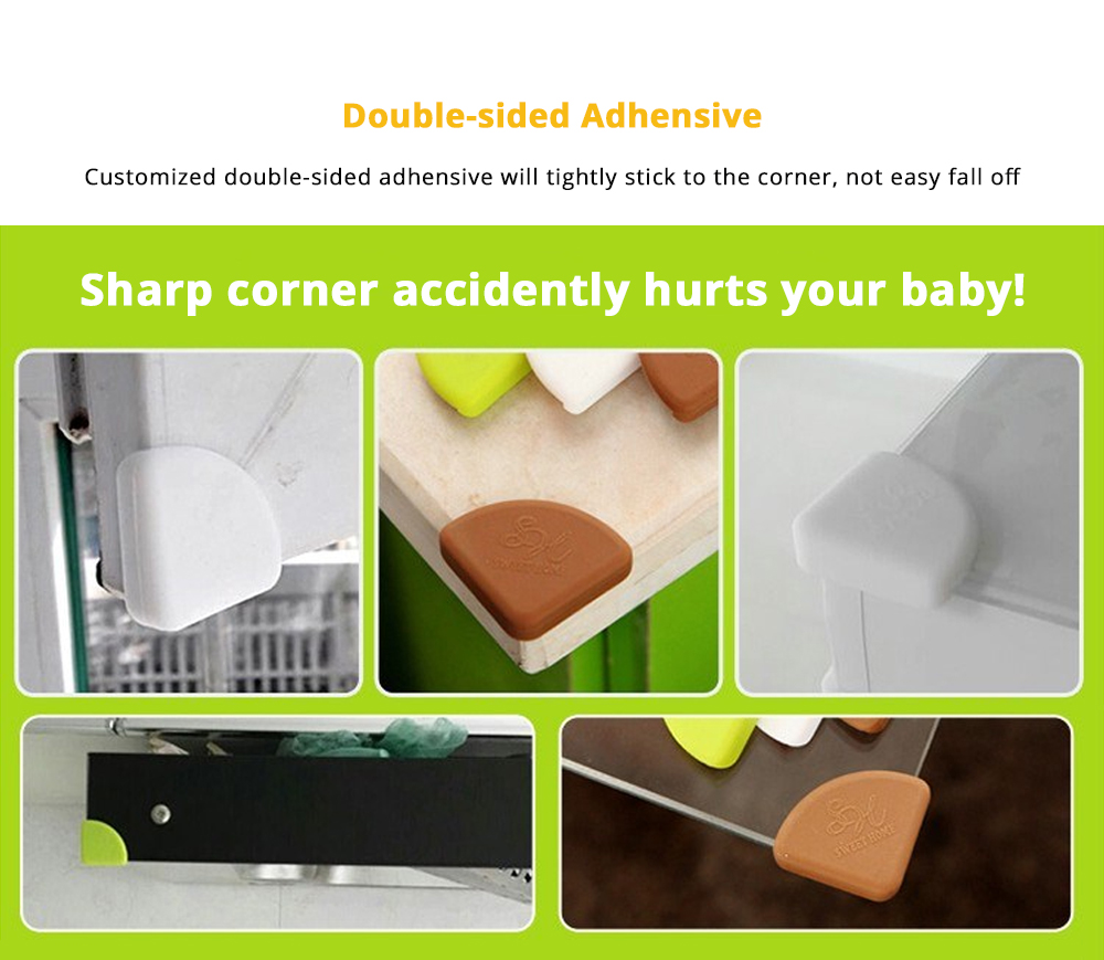 8 PCS Universal Flexible Collision Prevention Anti-impact Corner Protector with Double-sided Adhesive for Furniture Against Sharp Corners 10
