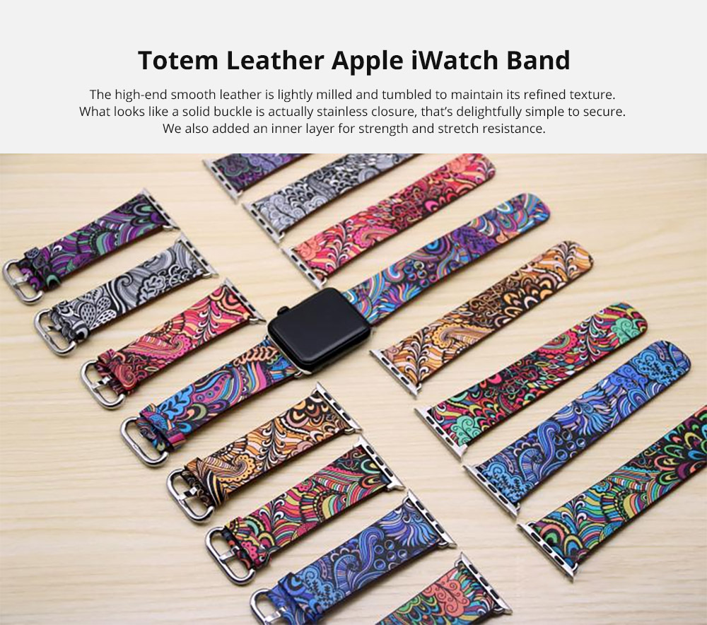 For Apple iWatch Replacement Strap 38-42 mm, Premium Totem Leather Band with Stainless Metal Buckle for Apple iWatch 5