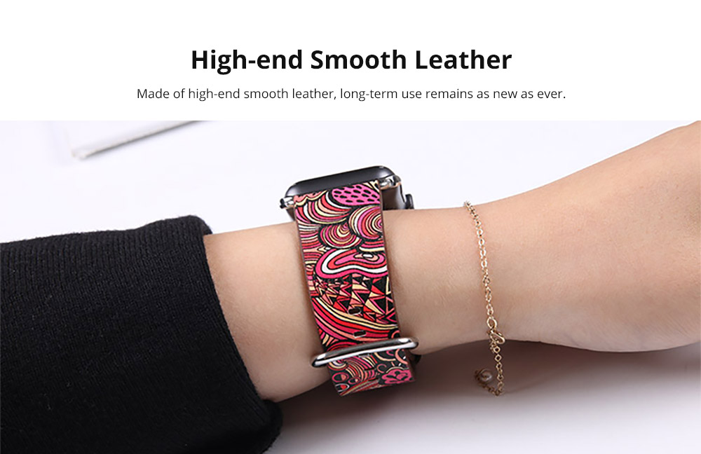 For Apple iWatch Replacement Strap 38-42 mm, Premium Totem Leather Band with Stainless Metal Buckle for Apple iWatch 8