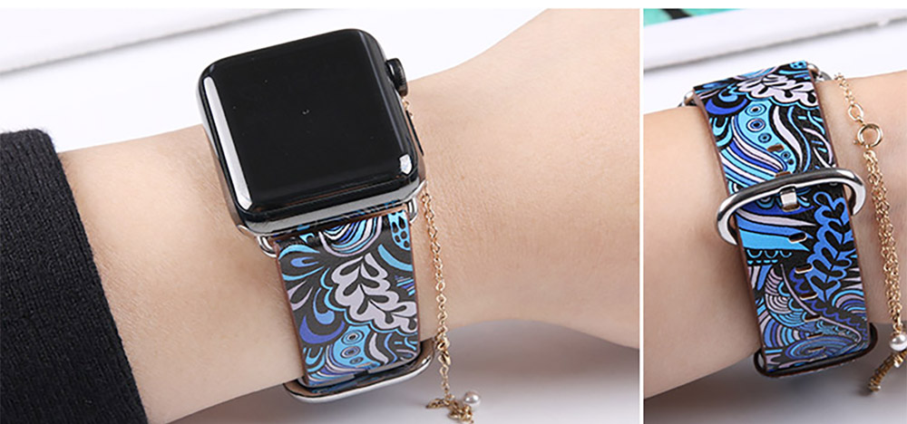 For Apple iWatch Replacement Strap 38-42 mm, Premium Totem Leather Band with Stainless Metal Buckle for Apple iWatch 9