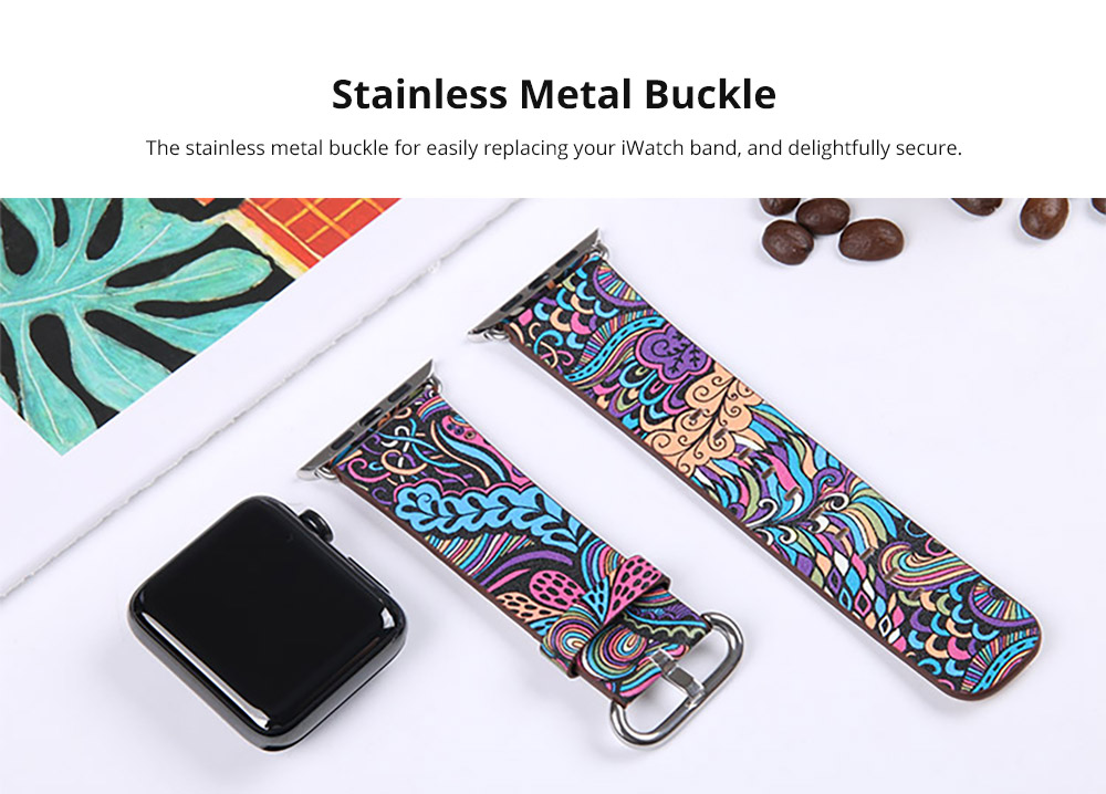 For Apple iWatch Replacement Strap 38-42 mm, Premium Totem Leather Band with Stainless Metal Buckle for Apple iWatch 11