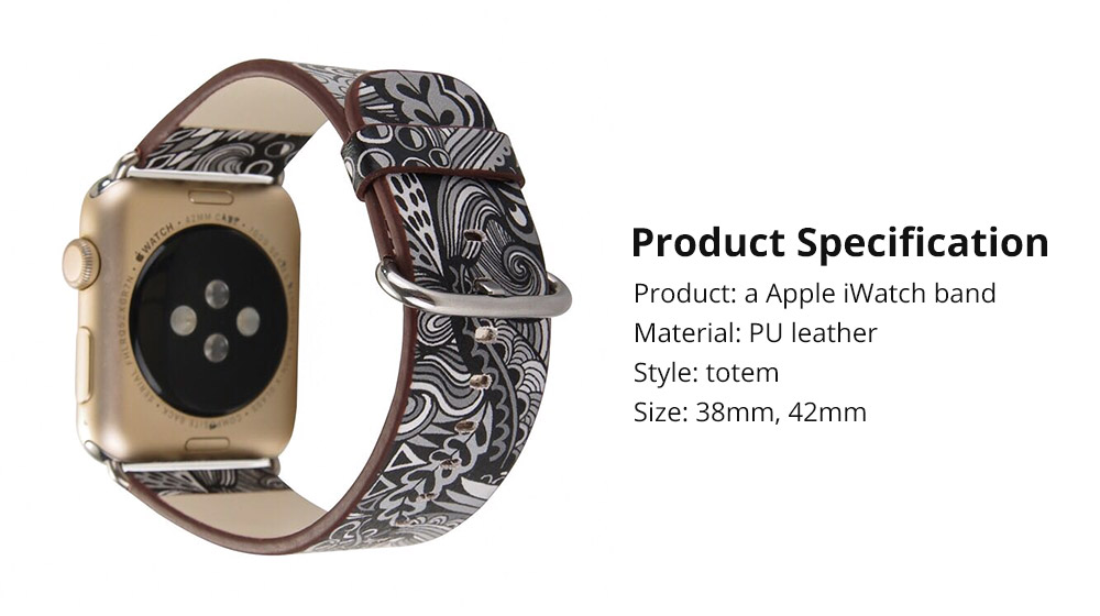 For Apple iWatch Replacement Strap 38-42 mm, Premium Totem Leather Band with Stainless Metal Buckle for Apple iWatch 12