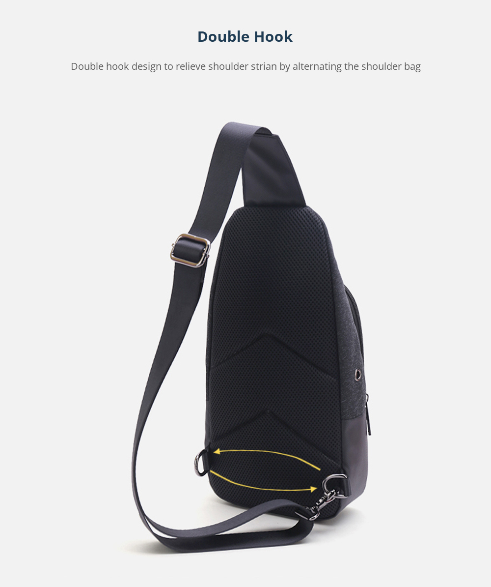 Retro Men's Crossbody Bag with Headphone Port Large Capacity Chest Bag with Stainless Metal Buckle Multipurpose Shoulder Bag with Adjustable Strap 9