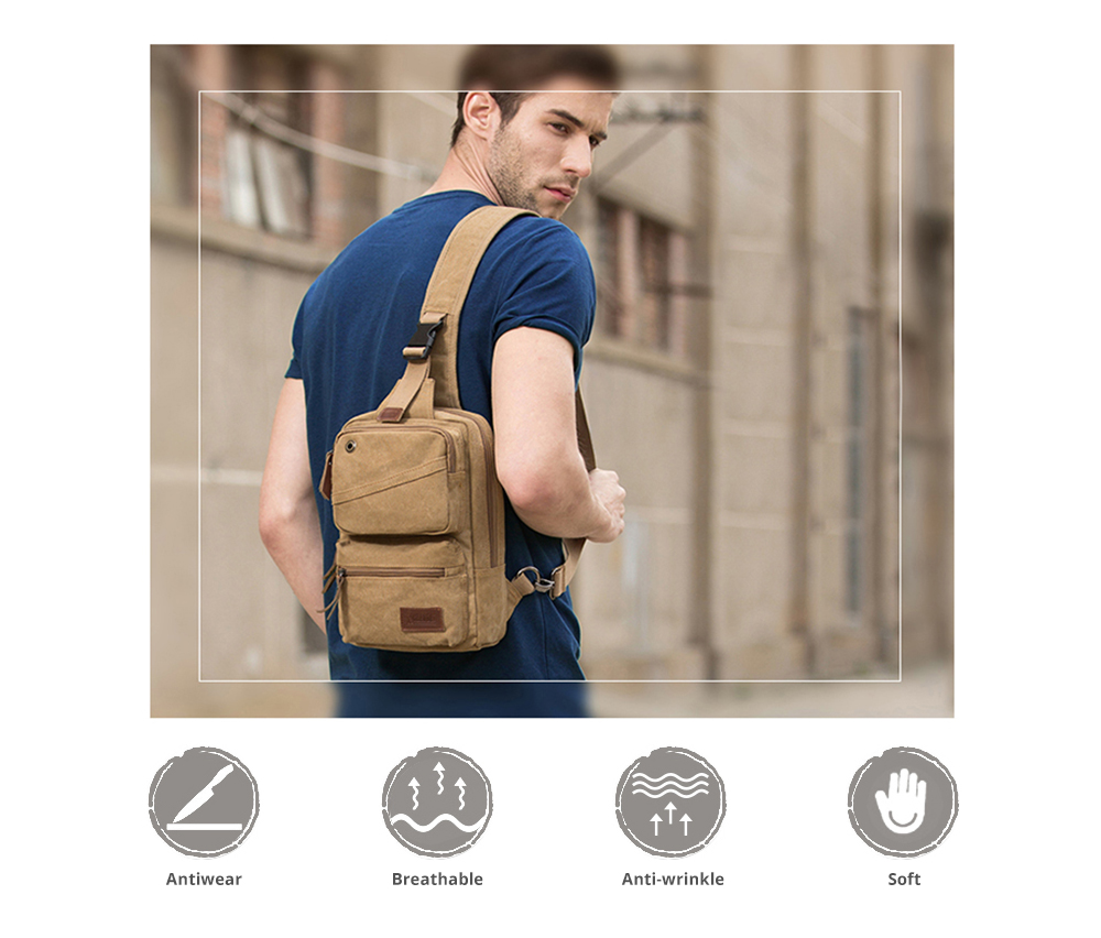 Vintage Durable Multipurpose Men's Crossbody Bag Breathable Large Capacity Backpack with Headphone Port Stainless Metal Buckle 7