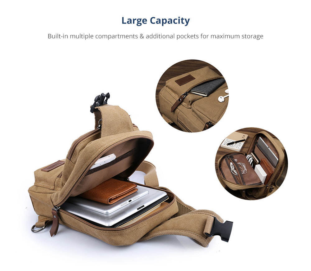 Vintage Durable Multipurpose Men's Crossbody Bag Breathable Large Capacity Backpack with Headphone Port Stainless Metal Buckle 9