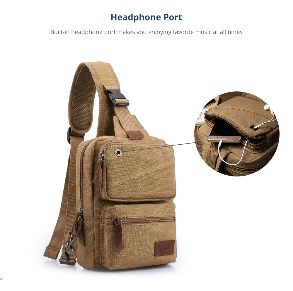 Vintage Durable Multipurpose Men's Crossbody Bag Breathable Large Capacity Backpack with Headphone Port Stainless Metal Buckle 10