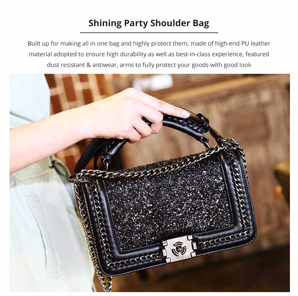 Luxurious Shining Women's Shoulder Bag for Dating & Party, Elegant Bling Handbag with Removable Shoulder Strap Crossbody Bag 6